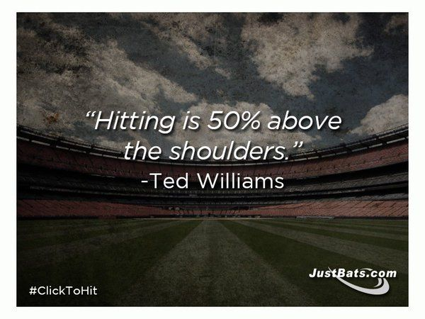"Baseball Quote Prepossessing Hitting Is 50% Above The Shoulders."" Baseball Quote From Justbats"