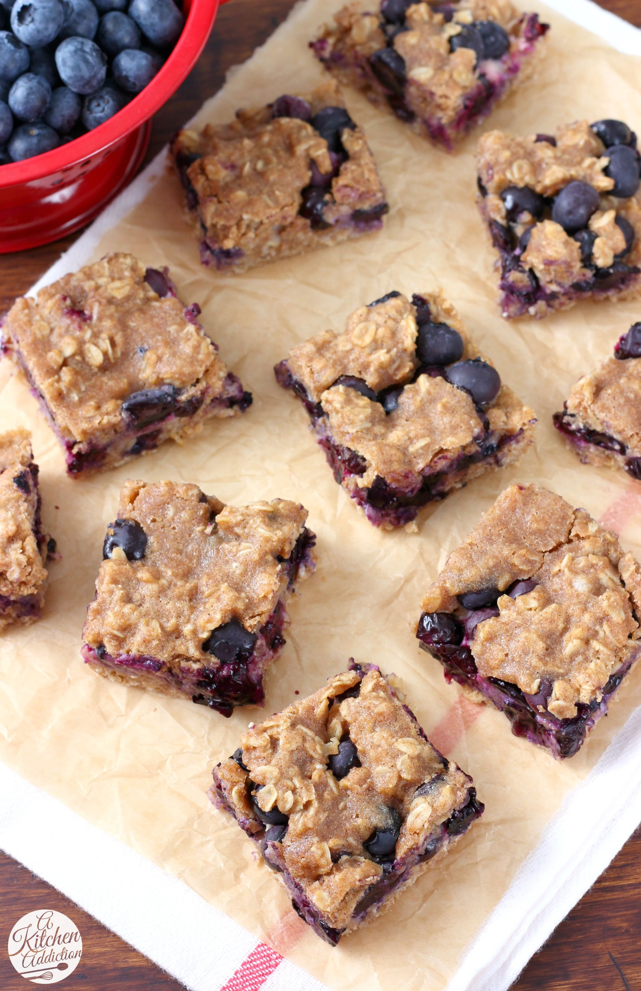 Blueberry Oat Snack Bars Recipe from A Kitchen Addiction