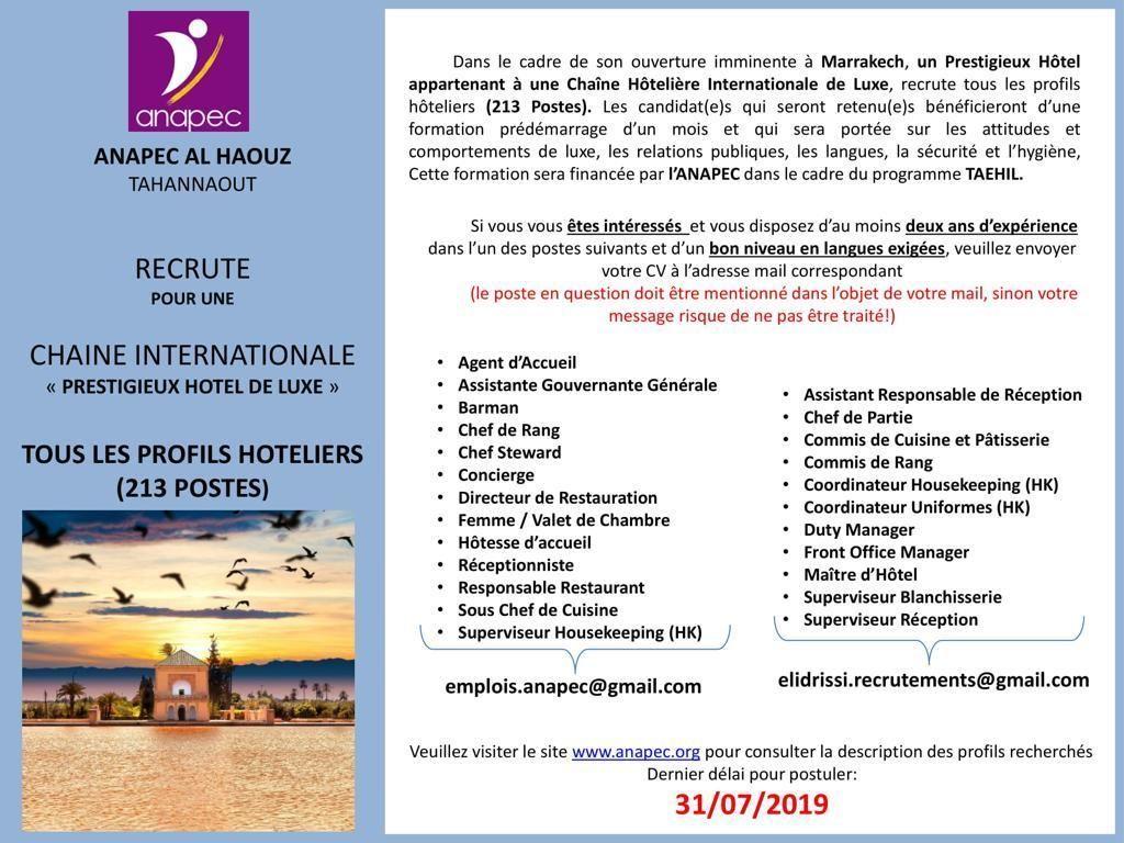 Recrutement 230 Postes Hotel Sur Marrakech