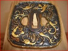 Tsuba Japanese Samurai sword Katana Koshirae guard openwork Antique