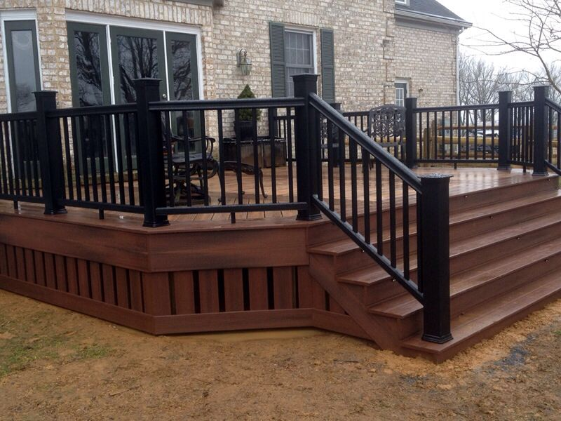 Composite deck w skirting and black railing hearth and for Composite decking and railing