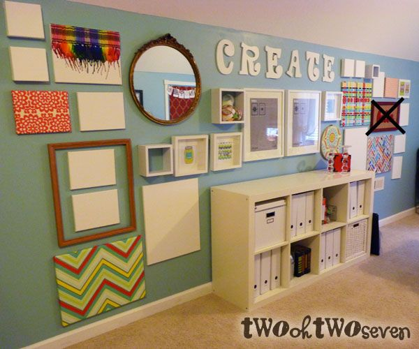 """LOVE her """"Create"""" wall. Blank canvases and frames for future projects."""