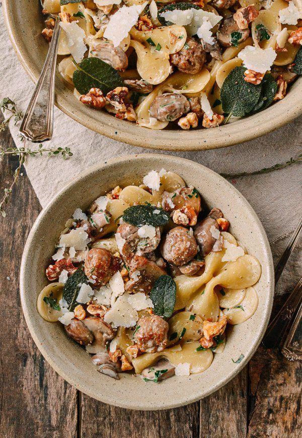 Winter Pasta w/ Sausage Meatballs, Walnuts, & Crispy Sage