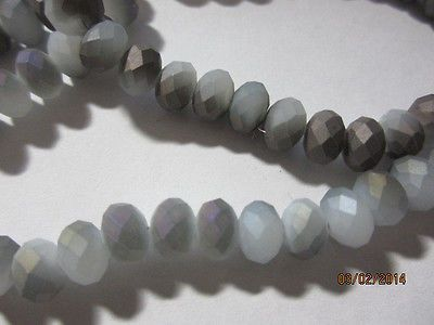 White Gray Opal Matte Copper Metallic Faceted Quartz Crystal Rondelle Beads 8mm