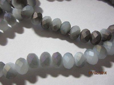 White Gray Opal Matte Copper Metallic Faceted Quartz Crystal Rondelle Beads 8mm