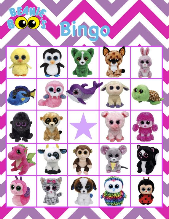 Beanie Boo Bingo Birthday Party Bingo Game Instant Download In