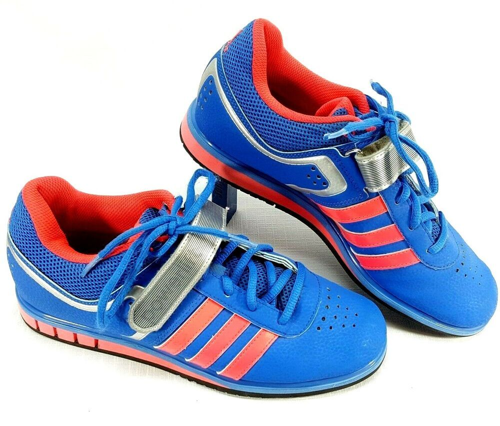 fd6240b3101f14 Adidas Powerlift Womens Weight Lifting Shoes Blue Pink Awesome Condition  Size 8  adidas  weightlifting  shoes