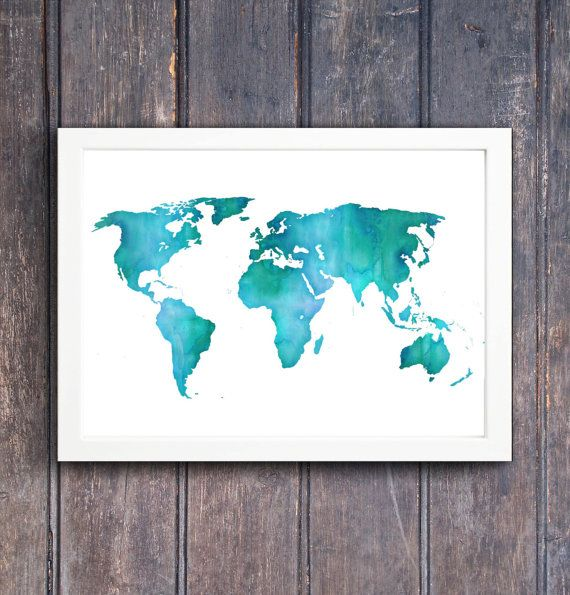 Watercolor world map wherever you go go with by southpacific large watercolor world map printable wall art by southpacific sciox Gallery
