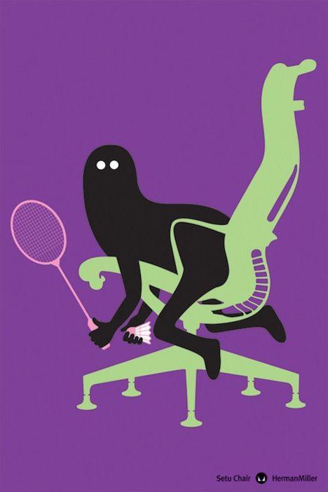 Herman Miller poster by Genevieve Gauckler.  Badminton, anyone?