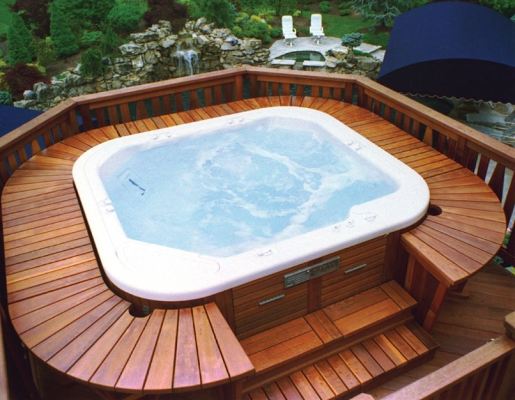 exterior beatific backyard pool deck s with jacuzzi - Patio Ideas With Hot Tub