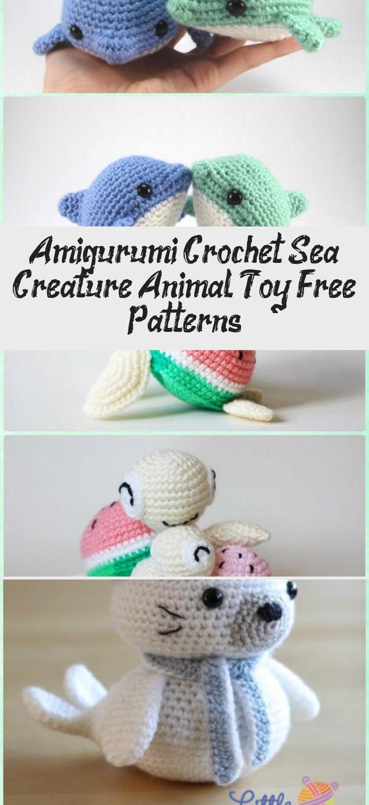20 Free Amigurumi Crochet Sea Creature Animal Toy Patterns | 1635x750