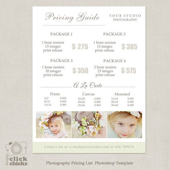 Photography Package Pricing List Template - Photography Pricing - Price Sheet Template