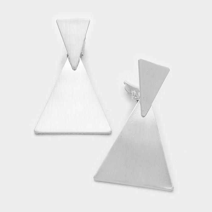 Clip On Matte Silver Dangling Triangle Earrings 2 1 13 99 Https