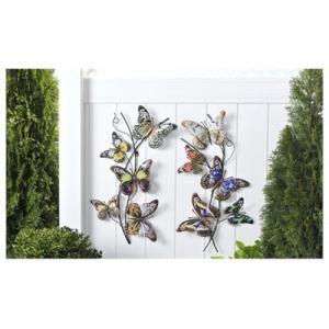 Metal Butterfly & Vine Design Wall Décor 2 Assorted