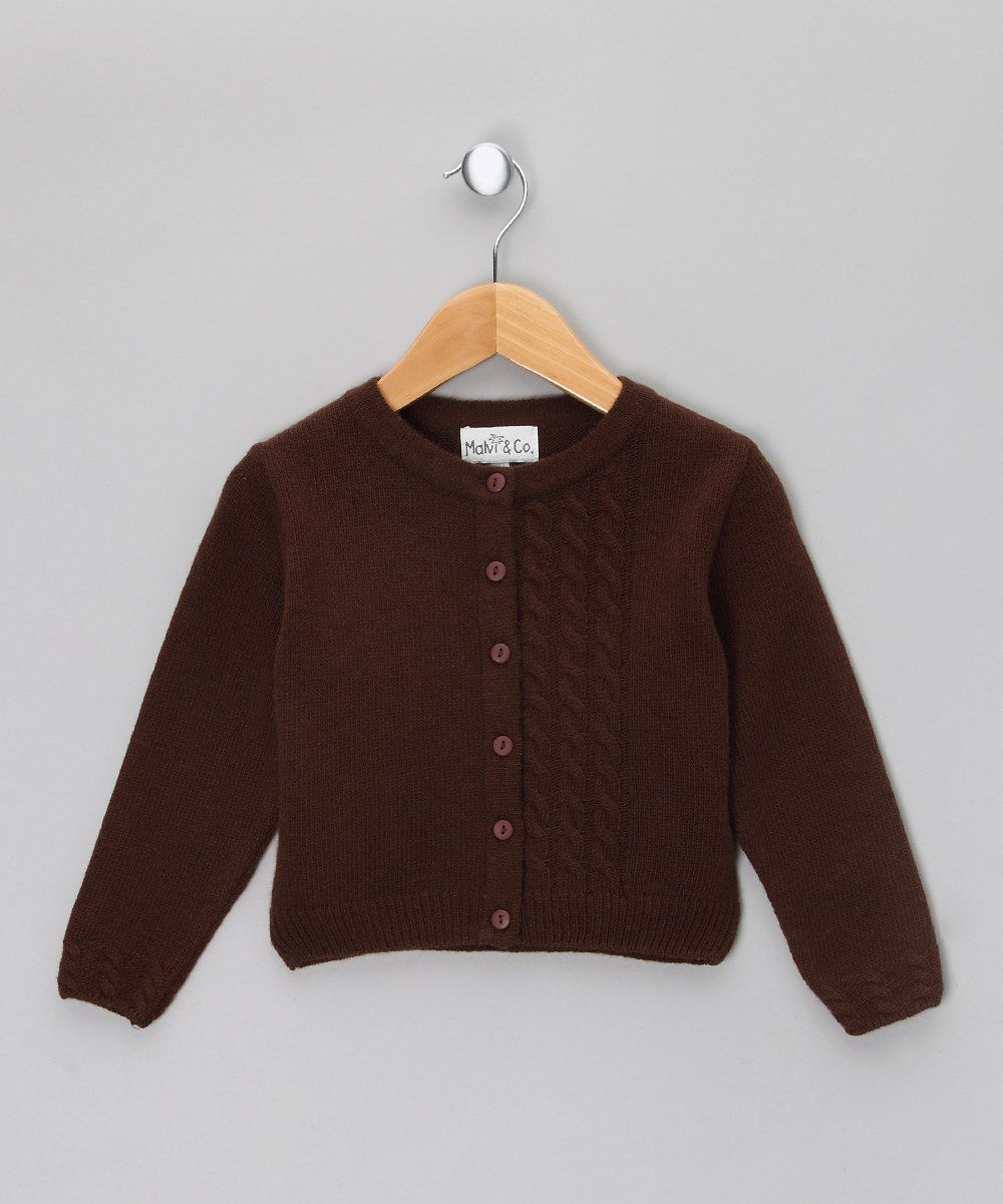 Brown Pure Merino Cardigan - Toddler & Girls by Malvi & Co ...