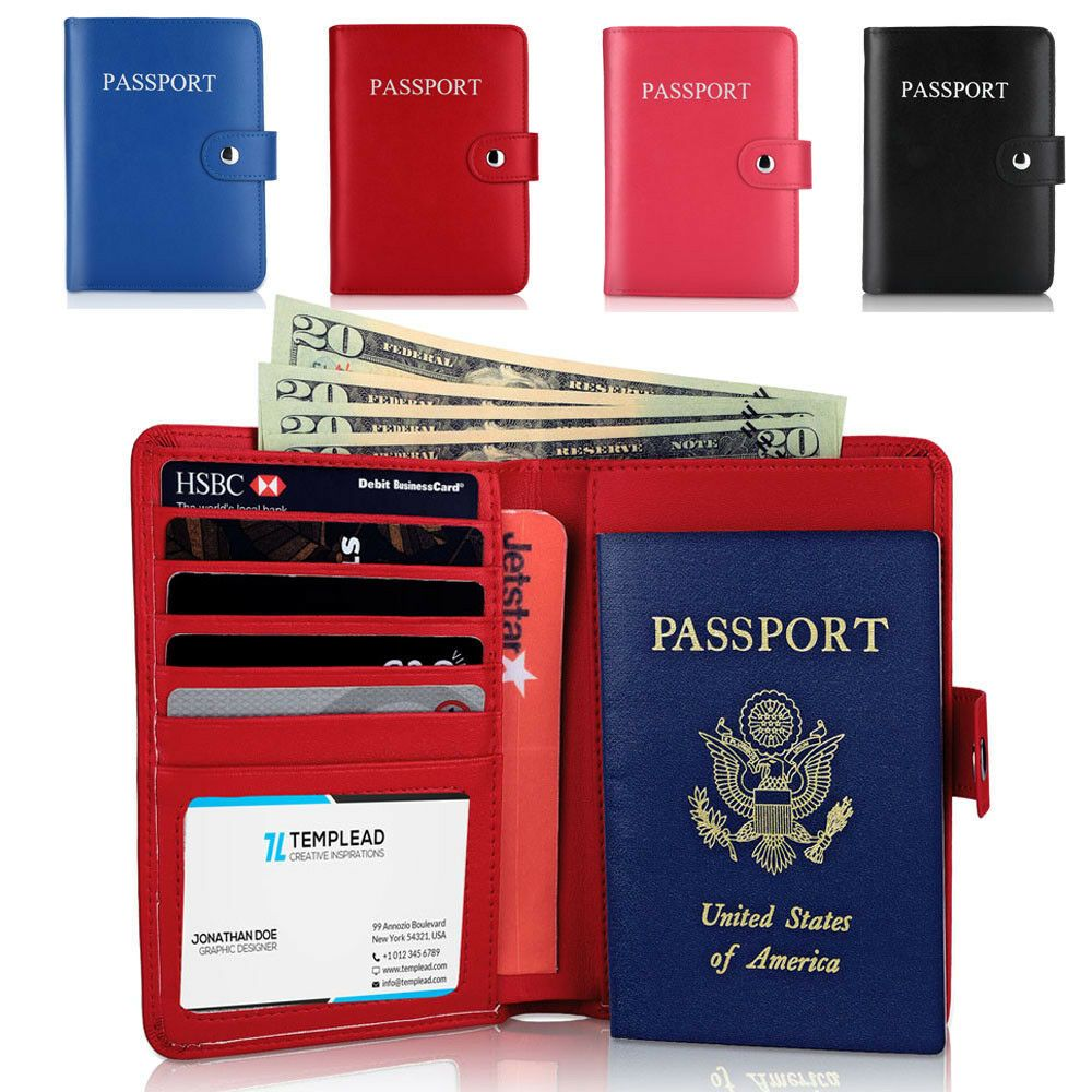 Red Rose Flowers Passport Holder Cover Wallet RFID Blocking Leather Card Case Travel Document Organizer