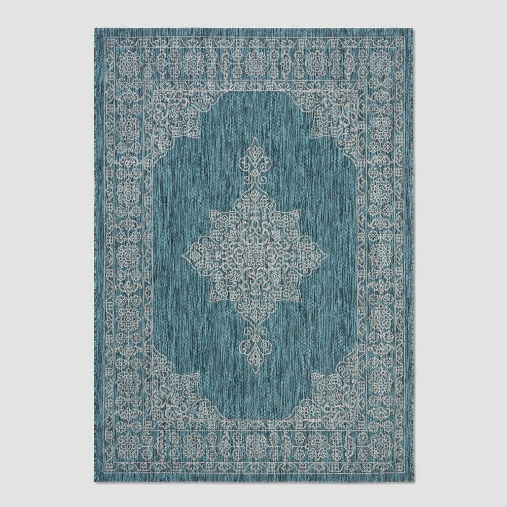6 7 X 9 6 Cleora Outdoor Rug Teal Ivory Safavieh Blue Ivory Outdoor Rugs Indoor Outdoor Rugs Rugs