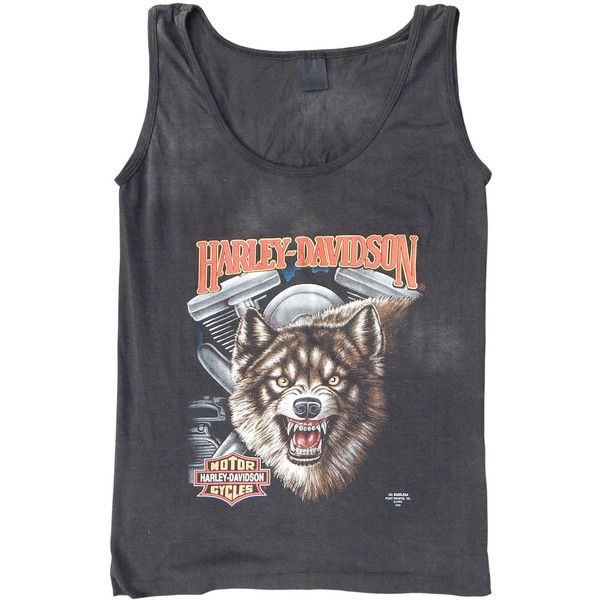 Vintage 3D Emblem HARLEY-DAVIDSON T-Shirt Wolf Logo Daytona Bike Week... ($180) ❤ liked on Polyvore featuring tops, collar top, logo shirts, flat collar shirt, harley davidson tops and vintage collared shirts