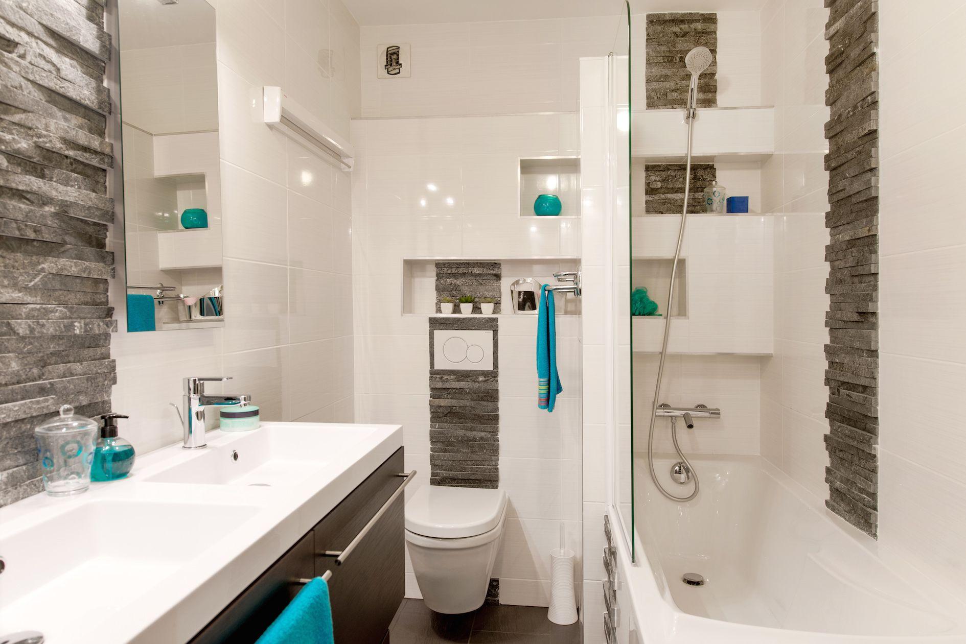 Carrelage Salle De Bain Bleu Gris Des Salles De Bain Bleues - Faience salle de bain ambiance zen