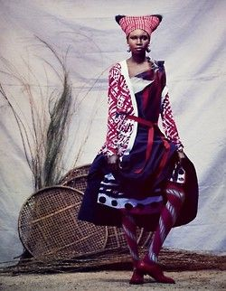 One of the best fashion spreads of all time: Alek Wek for UK Financial Times. Photographer: Andrew Yee;  stylist: Damian Fox