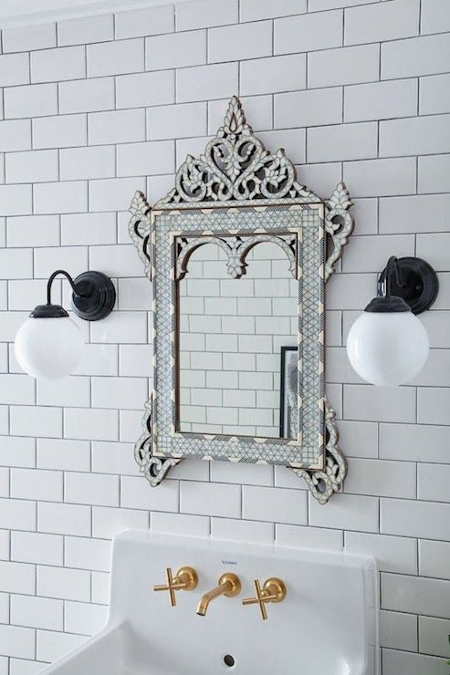 Bijou And Boheme Bathrooms Ceiling Height Subway Tiles White Tile With Dark Grout Tiled Mirror Venetian Gl