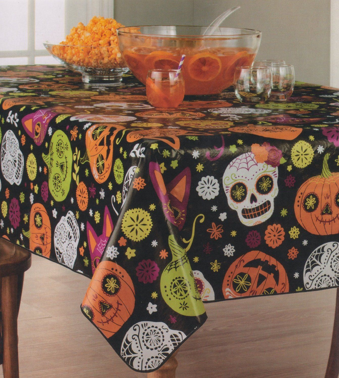 Halloween Sugar Skulls Vinyl Tablecloth 60 X 84 Oblong   My Sugar Skulls