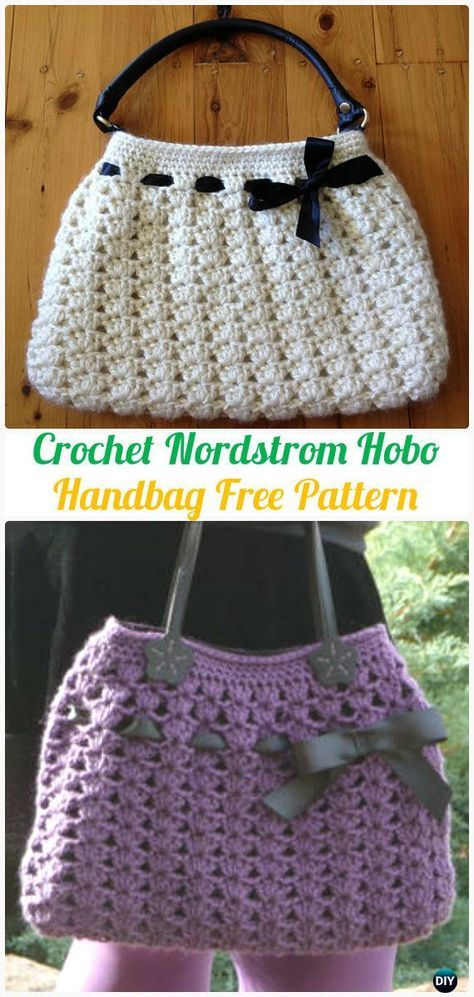 Crochet Nordstrom Hobo Handbag Tote Free Pattern [Video] - #Crochet ...