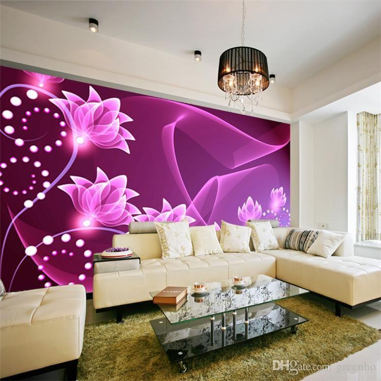 Fashion Wall Mural Purple Flowers Photo Wallpaper Dazzles Silk Wallpaper Art Decoration Bedroom Corridor Living Room Children Room Decor From Greenho 24 92 Kid Room Decor Flowers Photos Wallpaper Drawing Room Interior