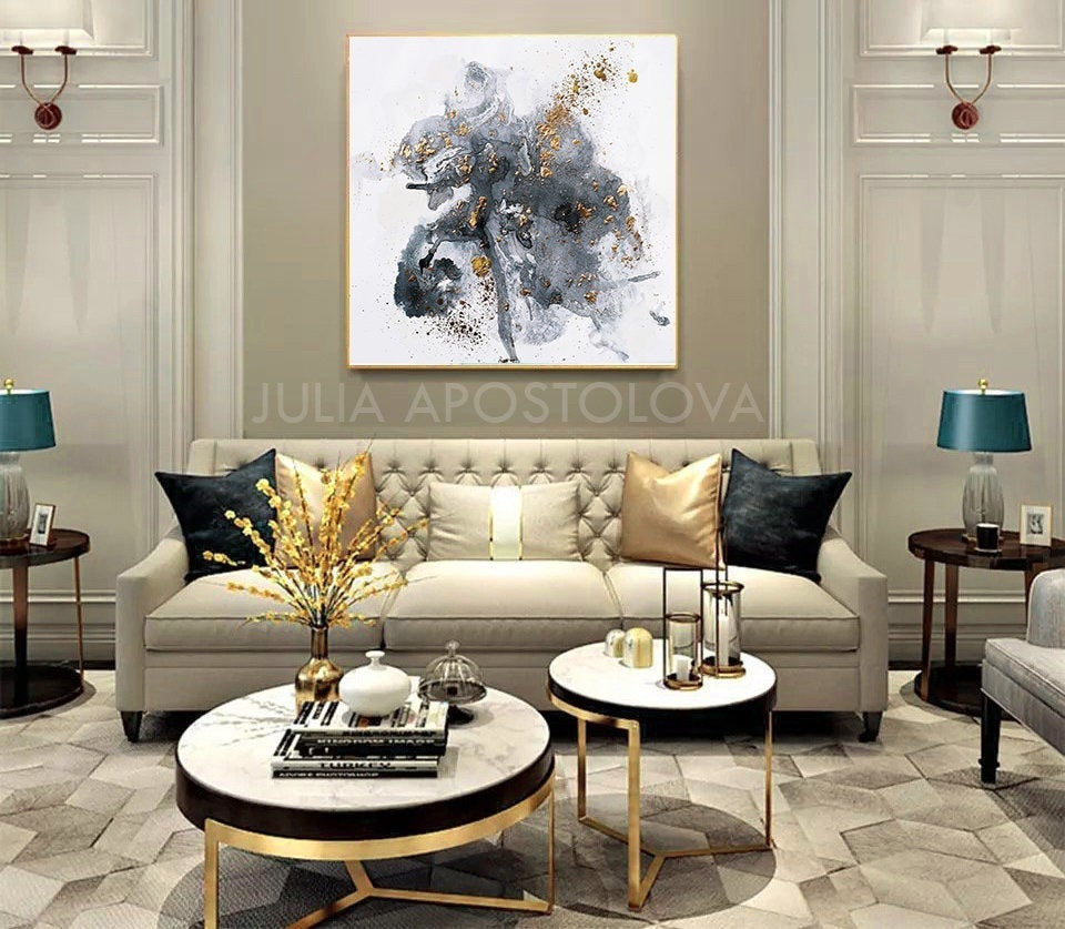 50 Gray White Gold Wall Art Canvas Gold Leaf Etsy Living Room Decor Apartment Gold Living Room Glam Living Room