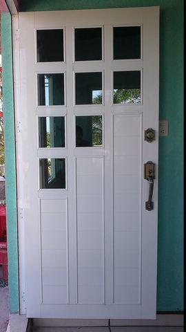 Puerta de aluminio blanco cuadriculada de 9 luces en for Puerta de aluminio