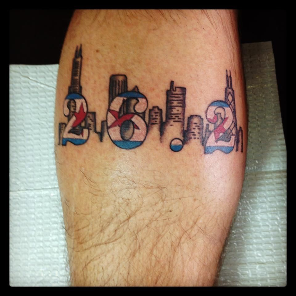 Chicago marathon tattoo running tattoos pinterest for Half marathon tattoos