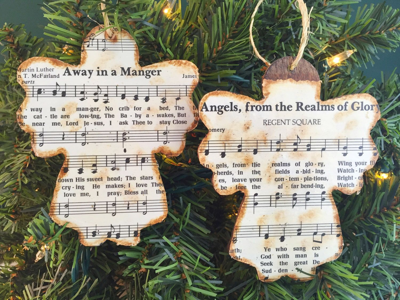 Christmas Music Ornaments Christmas Hymn Ornaments Sheet Music Ornaments Rustic Ornaments Wooden Ornaments Angel Ornaments Music Christmas Ornaments Sheet Music Ornaments Music Ornaments