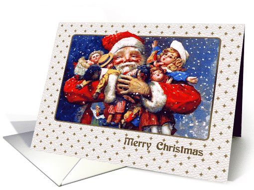 Merry Christmas Greeting Cards with a Vintage Santa Claus. at greetingcarduniverse.com
