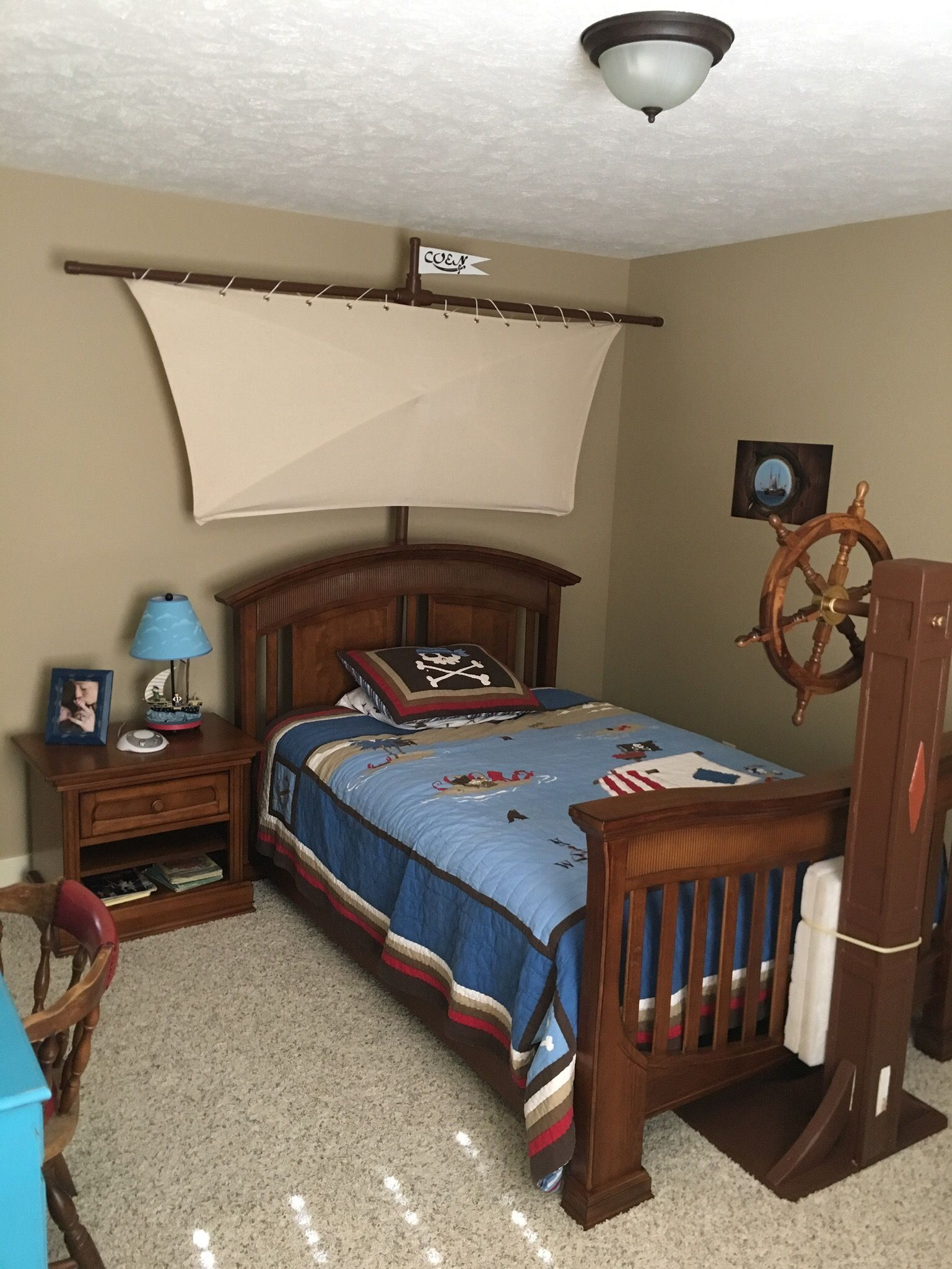 Boys Pirate Bedroom: Pirate Bedroom W/ Custom Sail/Steering Wheel