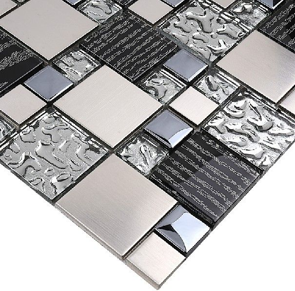 Silver Metal Mosaic Stainless Steel Tile Kitchen Backsplash Wall