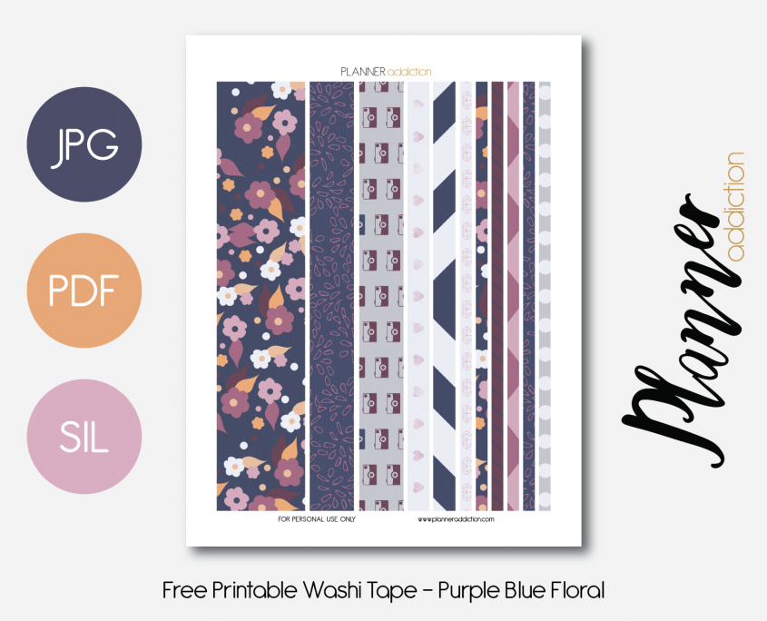 graphic regarding Free Printable Washi Tape titled No cost Printable Washi Tape - Crimson Blue Floral No cost