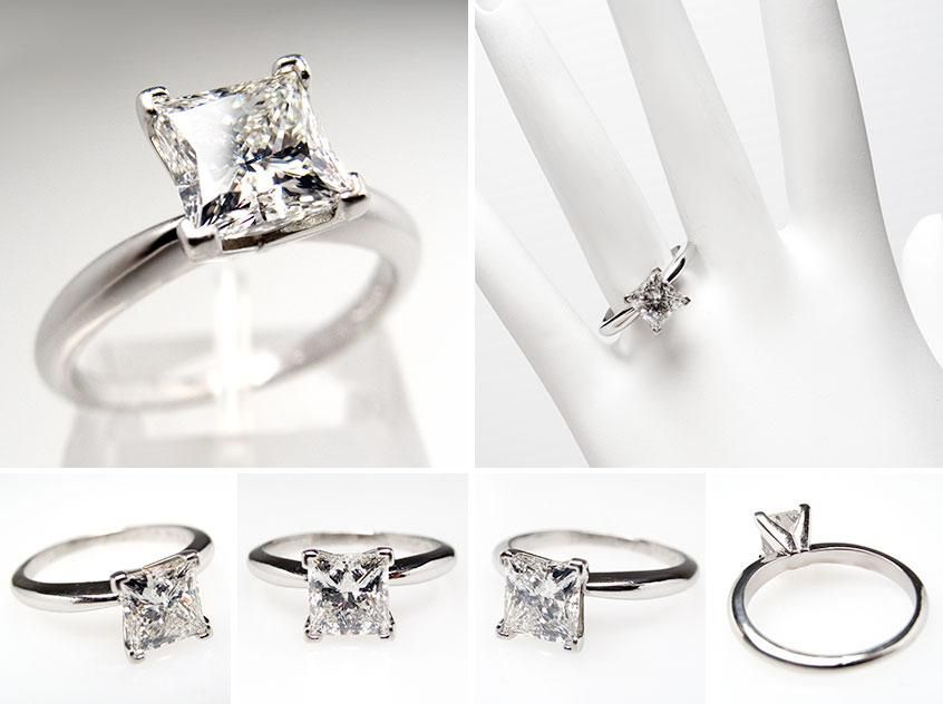 15 carat princess cut engagement ring on finger photo 2