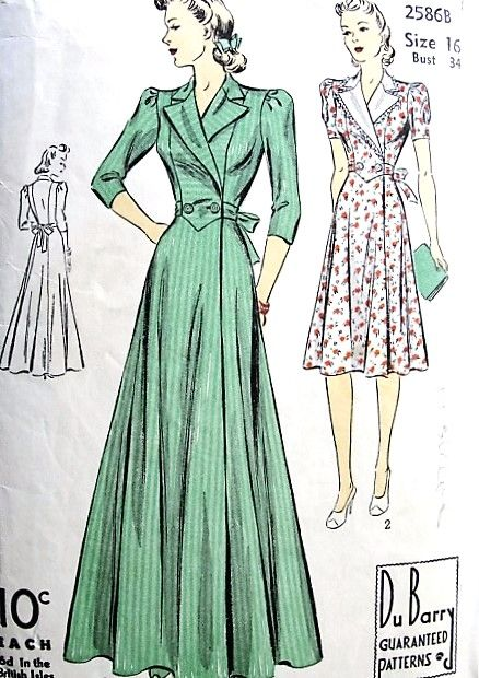 1940s Glam Housecoat Robe Or Dress Pattern Dubarry 2586b Classic Forties Side Wrap Lounging Hostes Vintage Dress Patterns Vintage Fashion Retro Fashion Vintage