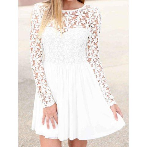 Chic white mini dress with lace details. #lace #whitedress