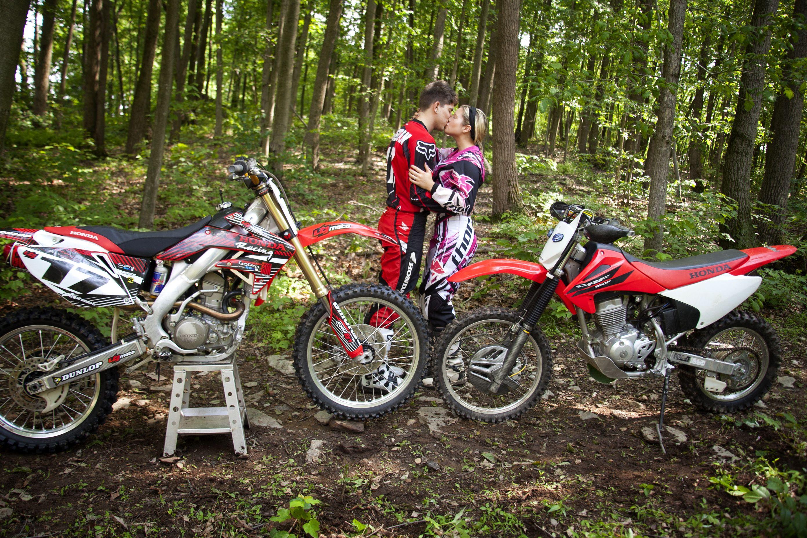 Dirt Bike Love Engagement Shoot With Dirt Bikes Kissing Bikes