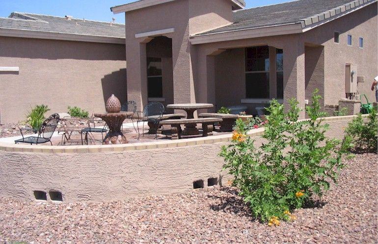 desert landscaped front yard