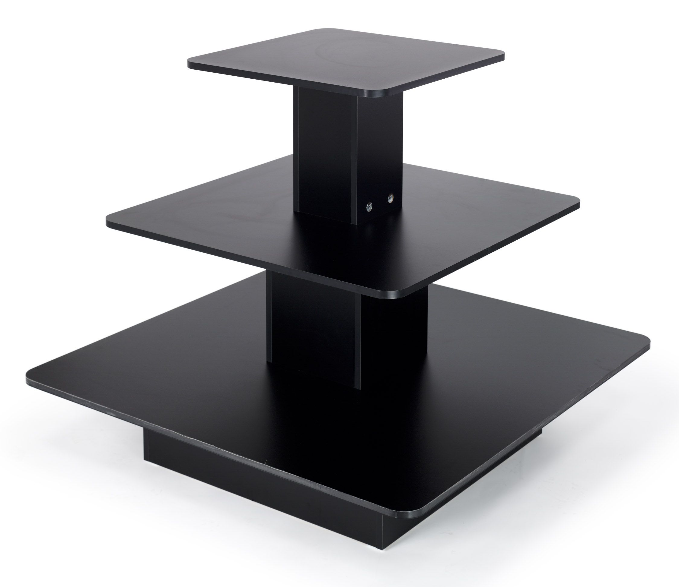 "48"" x 48"" Tiered Display Table w 3 Shelves Square Black"