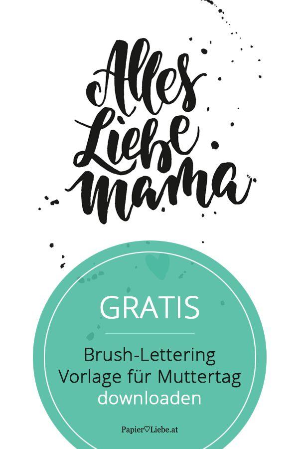 Freebie: Handlettering-Papeterie für Muttertag | Brush lettering ...