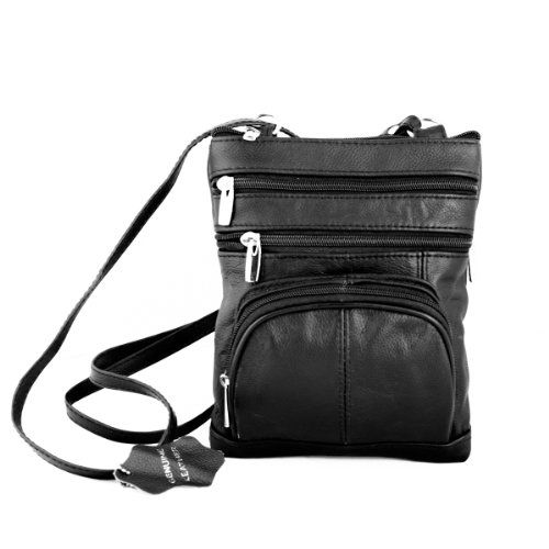 Genuine Leather Organizer Womens Crossbody Bag Black Roma Leathers
