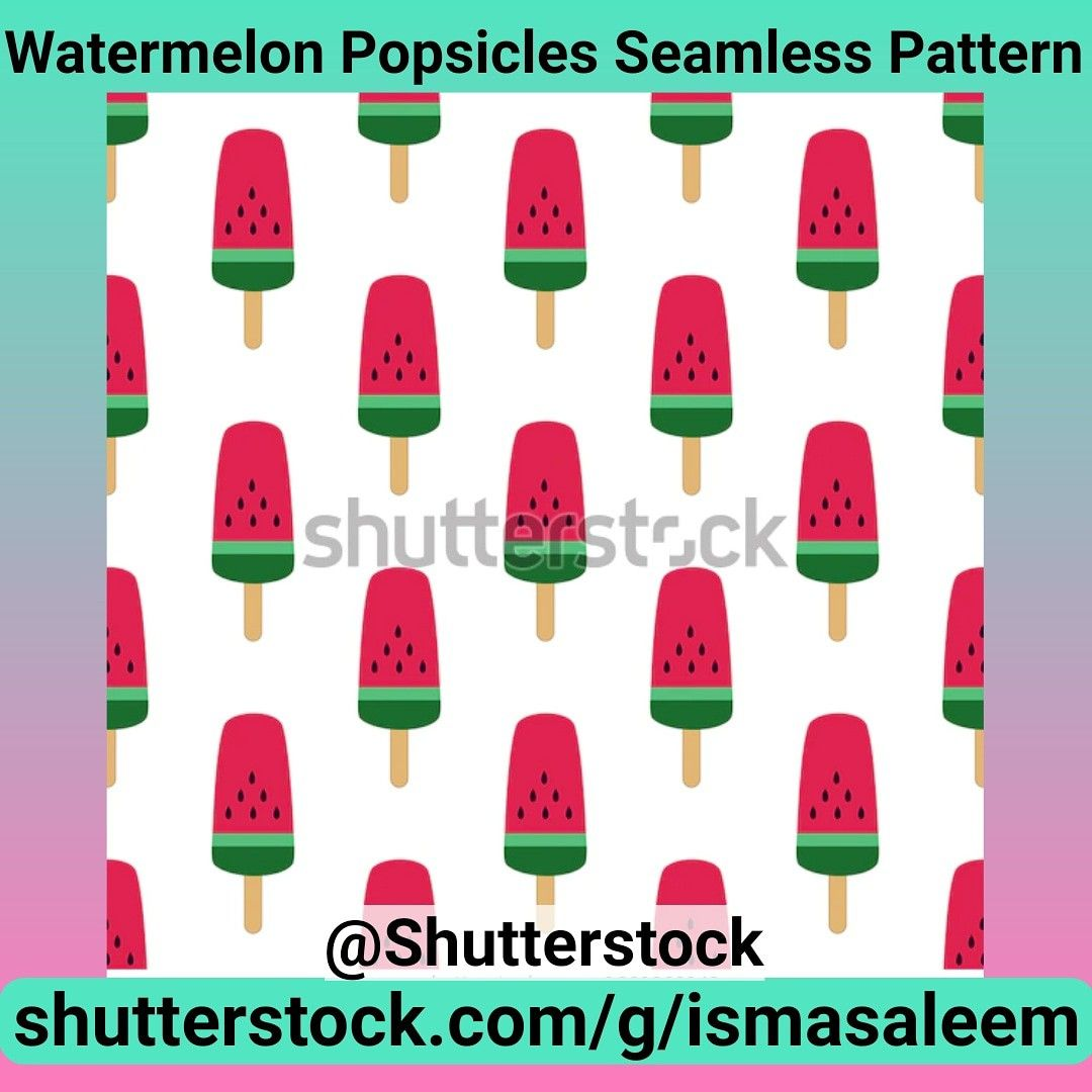 Watermelon Popsicles seamless pattern at Shutterstock by Isma Saleem @Shuttersyock #Shutterstock #seamless #printandpattern #artlicensing #illustrationart #illustration #licensingartist #pattern #patternillustration #patterndesigner #watermelon #textiledesign #shoppingonline #repeatpattern #shoppingonline #shopping #watermelon #watermelonpopsicle #popsicle #icecream #watermelonicecream #seamless
