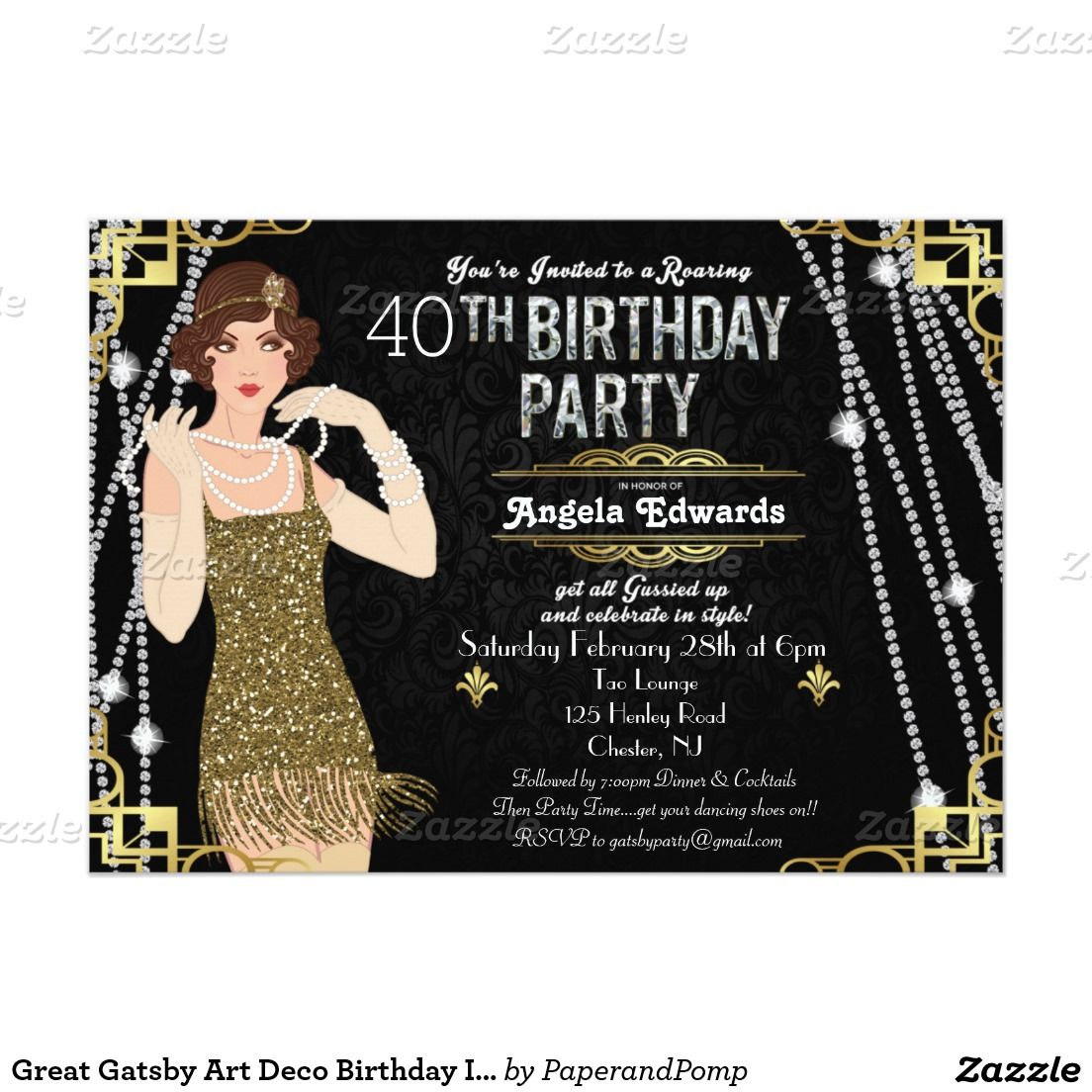 Great Gatsby Flapper Girl Birthday Invitation | Gatsby, Gatsby theme ...
