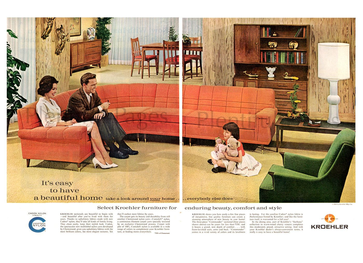 1960s Living Room With Orange Couch And Green Chair In