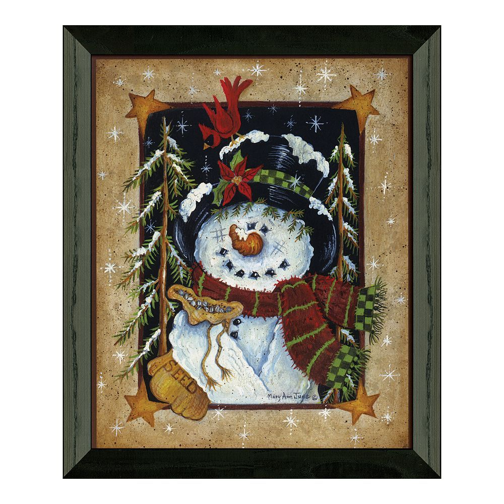 Timeless frames uufeeding the birdsuu snowman framed wall art black