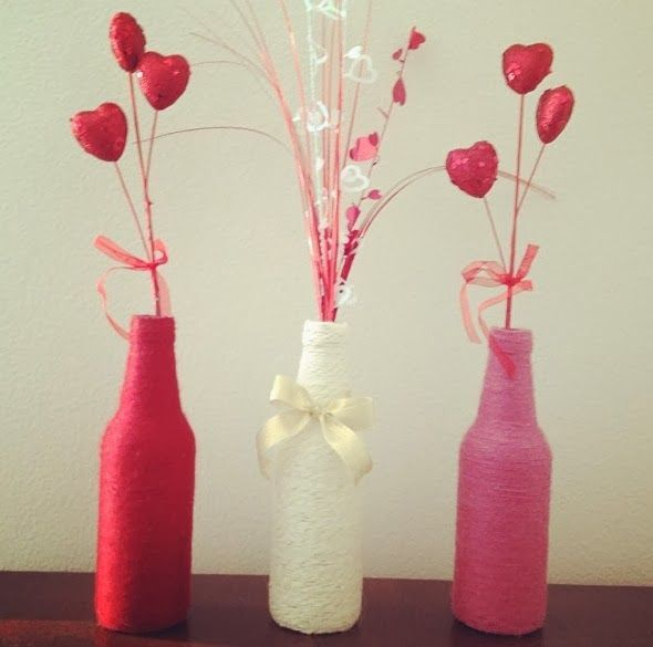 Valentines DIY yarn wrap bottle tutorial