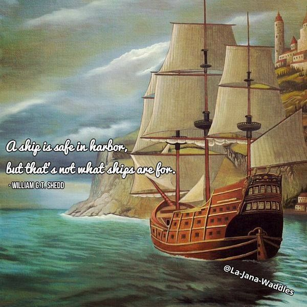 A ship is safe in harbor, but that's not what ships are for. - William G.T. Shedd